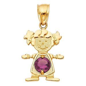 14kY Gold June Birthstone CZ Girl Pendant